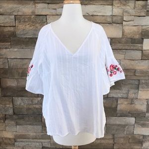 Bell Sleeve Embroidered Top
